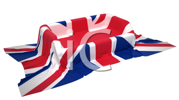 Royalty Free Clipart Image of a Showcase Stand Covered With Great Britain Flag