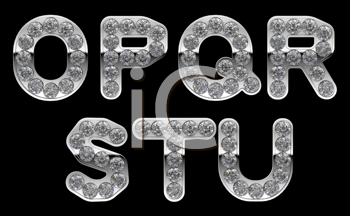 Royalty Free Clipart Image of Silver Letters Incrusted With Diamonds