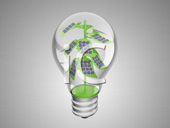 Royalty Free Clipart Image of Solar Cells on a Plant in a Light Bulb