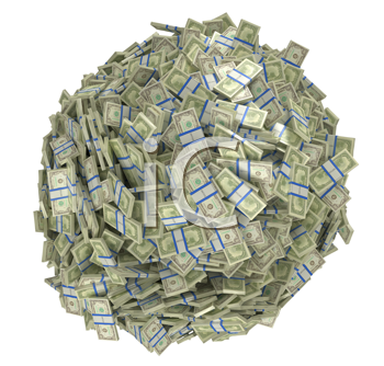 Royalty Free Clipart Image of a Heap of American Bills