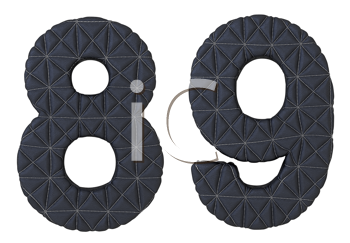 Royalty Free Clipart Image of Stitched Leather Numerals