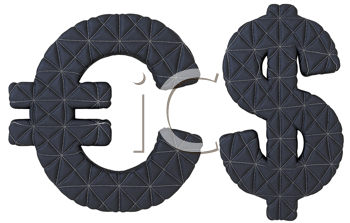Royalty Free Clipart Image of Stitched Leather Euro and Dollar Symbols