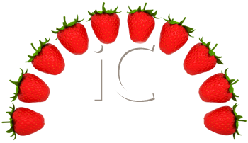 Royalty Free Clipart Image of a Strawberry Shaped Arch