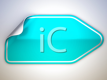 Royalty Free Clipart Image of a Bent Turquoise Sticker