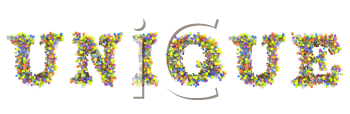 Royalty Free Clipart Image of Flowers Spelling Out Unique