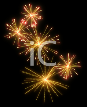 Royalty Free Clipart Image of Yellow Fireworks