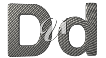 Carbon fiber font D lowercase and capital letters isolated on white