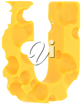 Cheeze font U letter isolated over white background