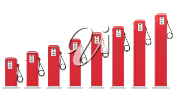 Fuel prices: red petrol pumps chart isolated on white