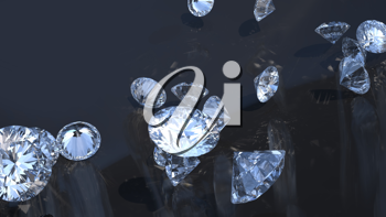 Precious gems: group of diamonds rolling over with reflection