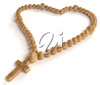 religious life and love: wooden chaplet or rosary beads over white background