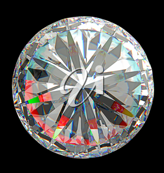Top view of large round diamond isolated over black