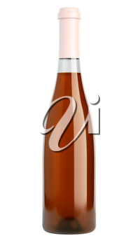 bottle of white wine or brandy isolated over white background