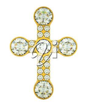 Jewelery: golden cross with diamonds isolated over white
