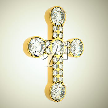 Jewelery: golden cross with diamonds. Custom made and rendered