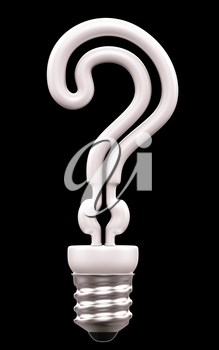 Query mark light bulb isolated over black background
