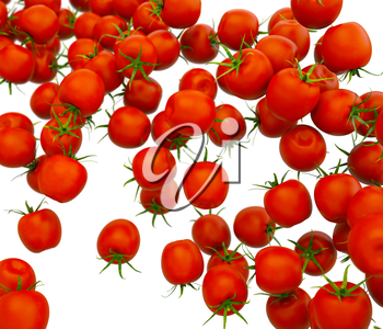 Tasty red cherry tomatoes flow over white (shallow DOF)