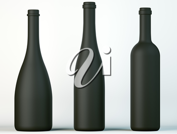 Three uncorked black bottles for wine or beverages on white