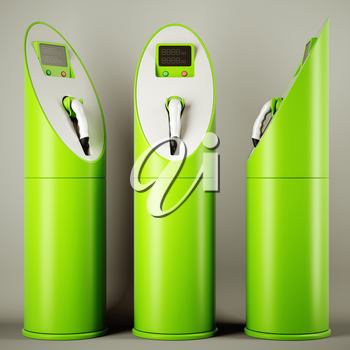Green fuel: group of charging stations for electric cars