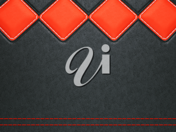 Leather background with red stitch and rhombuses (large resolution)