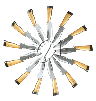 Set of hunting knives in the circle shape isolated over white