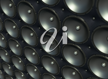 Sound wall: black speakers over leather pattern (artistic shallow DOF)
