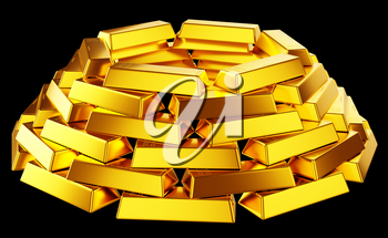 Wealth: gold bars or bullions isolated over black background
