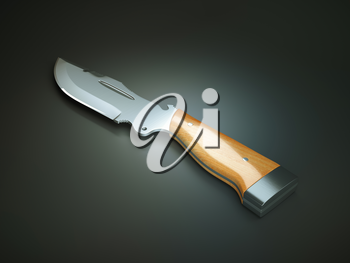 Weapon: hunting knife with large blade over grey