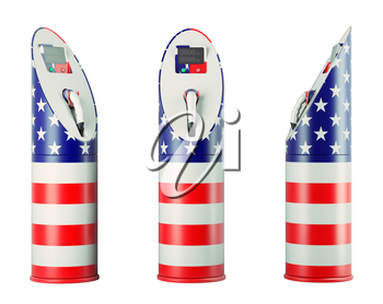 Eco fuel: isolated charging stations with USA flag pattern for electric cars