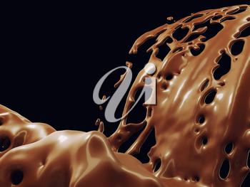 Hot chocolate or cocoa splashes flow isolated over black