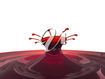 Splashes of cherry juice or wine with droplets isolated on white