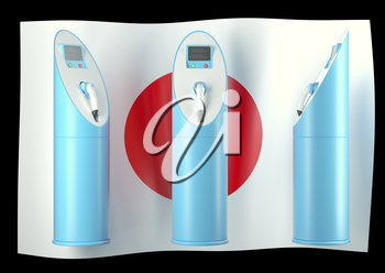 Royalty Free Clipart Image of Three Charging Stations on a Japanese Flag