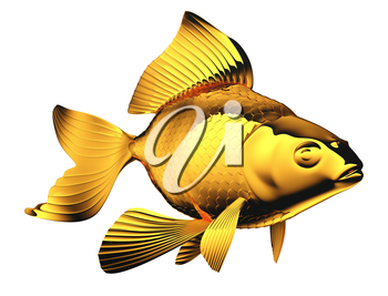 Royalty Free Clipart Image of a Glass Goldfish