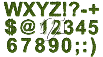 Green grass type set with letters symbols and numerals