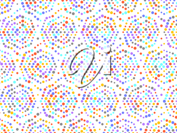 Polka dot spiral pattern with red yellow grey purple blue circles. On white