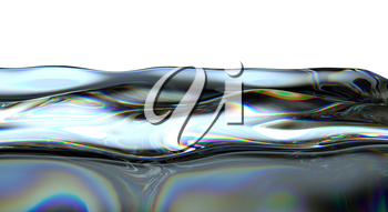 Liquid fuel waves and splashes isolated over white