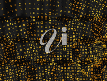 Pattern with circles in golden rectabgles with bumps on black. Creative background