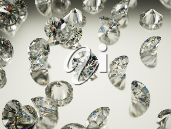 Many large Diamonds or gemstones on surface with reflection. Luxury and wealth