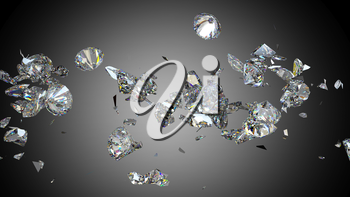 Shattered and cracked diamond or gemstones high resolution