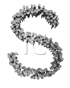Royalty Free Clipart Image of an S Made From Hammered Nails