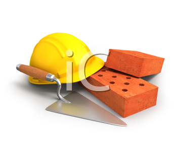 Royalty Free Clipart Image of a Bricks, Trowel, Hardhat