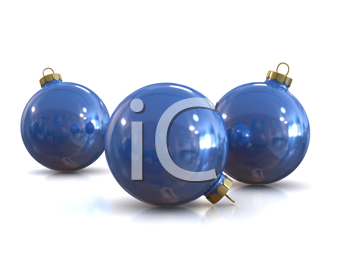 Royalty Free Clipart Image of Blue Christmas Ornaments