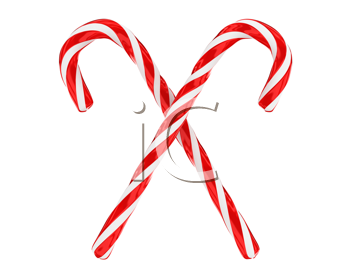 Royalty Free Clipart Image of a Crossed Candy Canes