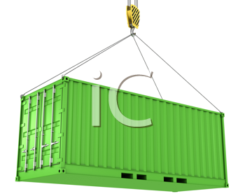 Royalty Free Clipart Image of a Green Freight Container
