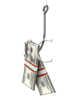 Royalty Free Clipart Image of Money on a Fishhook