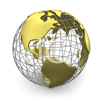 Royalty Free Clipart Image of a Globe With Gold Continents