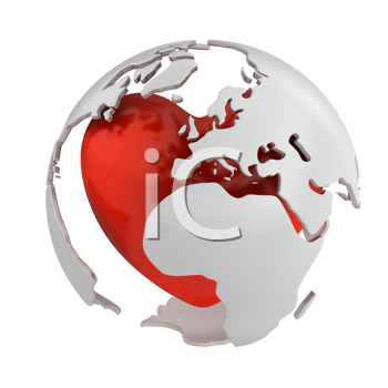 Royalty Free Clipart Image of a Globe on a Heart