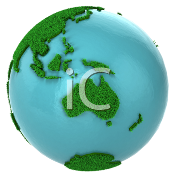 Royalty Free Clipart Image of a Grass and Water Globe