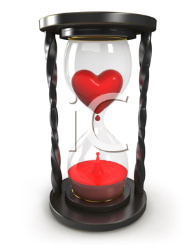 Royalty Free Clipart Image of an Hourglass With Heart and Blood