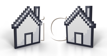 Royalty Free Clipart Image of Pixelated Houses